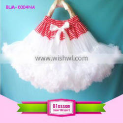 Hot sale baby birthday wearing red stripe small bow skirt tutu two or three layers chiffon frill mini pettiskirt for little girl