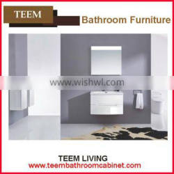 Small Size Wood Bathroom Cabinet white bathroom cabinets Natural Marble Countertop Bathroom Cabinet