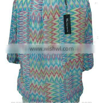 Blue With Multi-Color Print Round Collar Chiffon Blouse