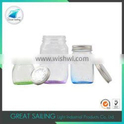 eco-friendly 3pcs embossed glass storage jar with lid for jam