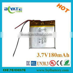 China manufacture rechargeable 303030 li-polymer 3.7v 180mah battery