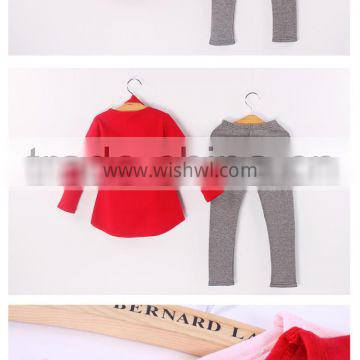 cheap girls red sweater with heart grey leggings hairband 3 piece 2015 children clothes