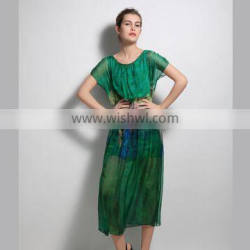 HP680043 dongguan alibaba women cap sleeve green printed chiffon casual lady dress