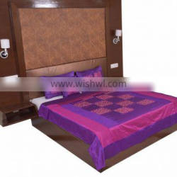 Soundarya high quality poly silk embroidery bed cover set