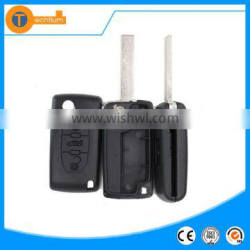 High quality car key shell with 407 uncut blade and logo fodling flip remote key for Peugoet 307 407 308 607