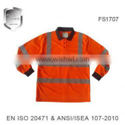 long sleeve reflective safety high visibility polo shirt