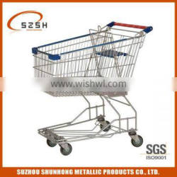supermarket stainless steel shopping trolley with plastic handle (Asia style)