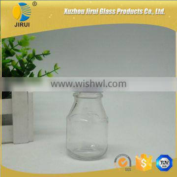 50ml small glass beverage bottle with metal lid/ glass drinking bottles