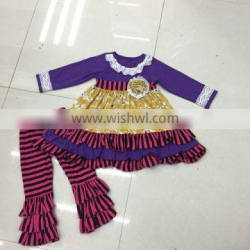 2016 wholesale cheap winter & fall girls floral dress top ruffle pant set pretty girls boutique clothes