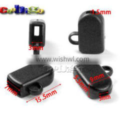 3mm Hole Black Cup Shaped Buckle Plastic Black For Phone Strap Lanyard Worker Tag ID Card Badge Holder Lanyard #FLS126