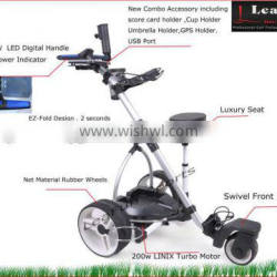 2015 NEW Electric Golf Trolleys With T Bar LED Digital Handle . EZ-Fold ,36 Holes Battery .High Power Motors Aluminium Frame ,