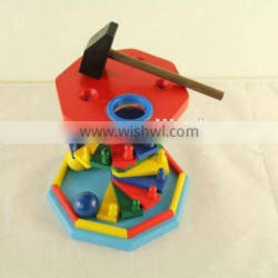 Baby knock ball wooden toys hammer bench toys