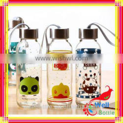 Glass bottle for milk drinking with water bottle for school with empty water bottle
