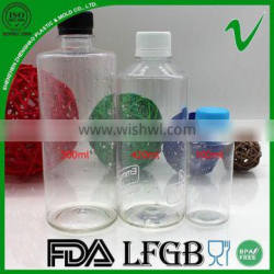 High quality empty clear round pet plastic bottle juice for beverage packaging