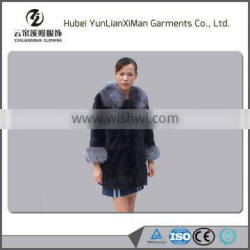 Women luxual long mink fur coat women with fox fur collar