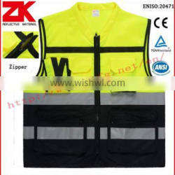 Manufacturer Yellow CE standards safety vest with reflective tapes