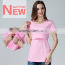 Blank Short Sleeve Maternity Clothes Month of Service Breastfeeding Clothing A type Nursing T-shirts