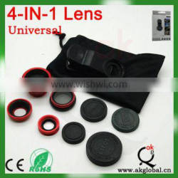 Universal Clip Lens 4 in 1 Wide Angle+Macro+Fisheye+CPL Filter Prism Lens