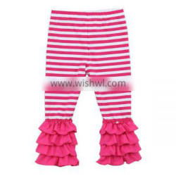 Wholesale 2016 girls ruffle pants baby cotton knit solid four solid ruffle hot pink strip pants