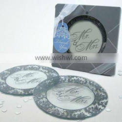 Mr and Mrs Round Glass photo Coaster for Wedding decoration Favors