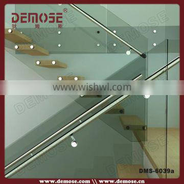 Invisible keel solid wood stairs/Staircase with temperd glass panel
