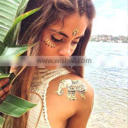 Eco-friendly metallic silver and gold glitter elephant gold tattoo for adult