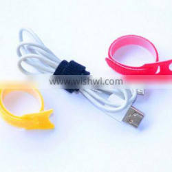 Colorful reusable electric wire tie hook and loop band