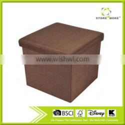 Brown Stain Resistant Folding Polyester Linen Storage Ottoman
