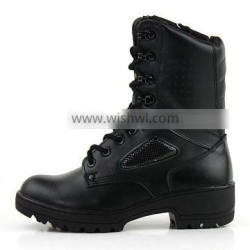 Black leather fashion military boots for woman