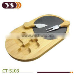 bamboo broken edges slate cheese board with tools