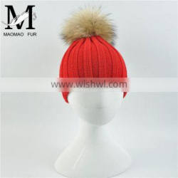 Top Lovely Light Blue Color Knitted Hat With Large Raccoon Fur Pom Pom Classic Fur Pom Hat Baby