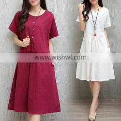 JPSKIRT1605958 Latest Fashion Ladies Round Neck Cotton Dress