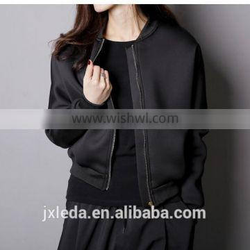 Best Quality Lady Biker Bomber Jacket black Solid Zipper Coat Women Cloths 2016