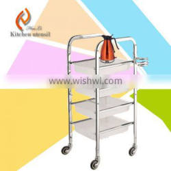 100KG loading fast food multifunction stainless steel kitchen food trolley cart
