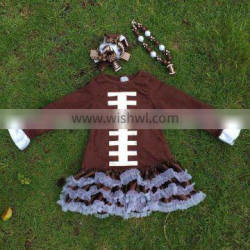 Football dress new design ruffle dress clothes 100%cotton cute children's kids clothes with matching necklace and headband