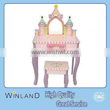 Kids Wooden Fantacy Princess Vanity With Stool