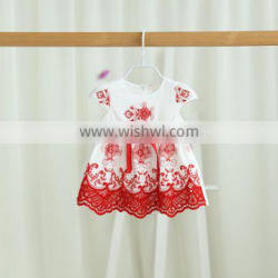 Wholesale short sleeve with belt cotton embroidery baby dress