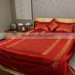 Luxury Indian Decorative silk bedding,silk Embroidered Bedding set with 2 pillow and 2 cushion covers