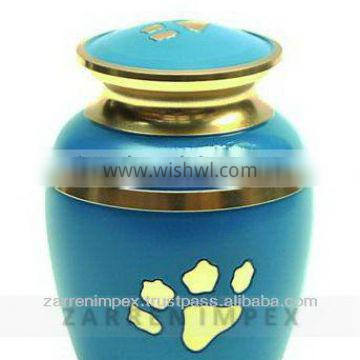 "Paw Print Blue Enamel 7"" Brass Pet Cremation Urn"