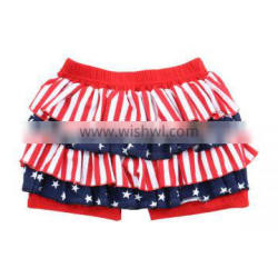 Wholesale Boutique Fourth of July Clothing USA Baby Girls Patriotic Blue Red Ruffle Shorts