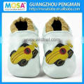 Soft Sole Cow Leather Shoes For Kid Brown Color Double Heart Pattern