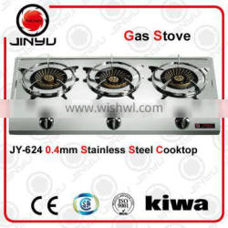 sales hot 0.4mm stainless steel cooktop kitchen gas stove for three burner 100/100/100mm