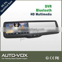 HD 1080P bluetooth rearview mirror car gps with dvr