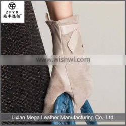 China wholesale custom New Arrival White Suede Leather Gloves