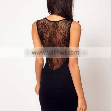 Fashion Sexy Women's Black Slim Lace Sheer Sleeveless Cocktail Party Dress