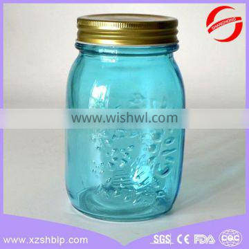 food grade embossed logo glass mason jar with daisy lid