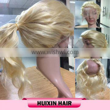 Malaysian human hair lace frontal with lace band 360 lace closure 613 blonde