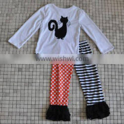 bulk wholesale baby black cat print halloween costumes girl fall boutique outfits