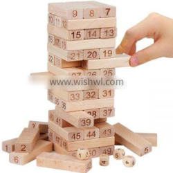 high quality 54pcs wooden jenga custom