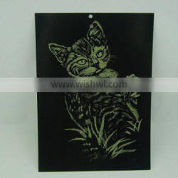 EN71 Certification Engraving card/Scratch art foil paper/foil card/Cat designed foil paper engraving art